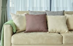 fabric sofa with pillows