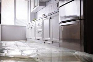 water flood on kitchen floor