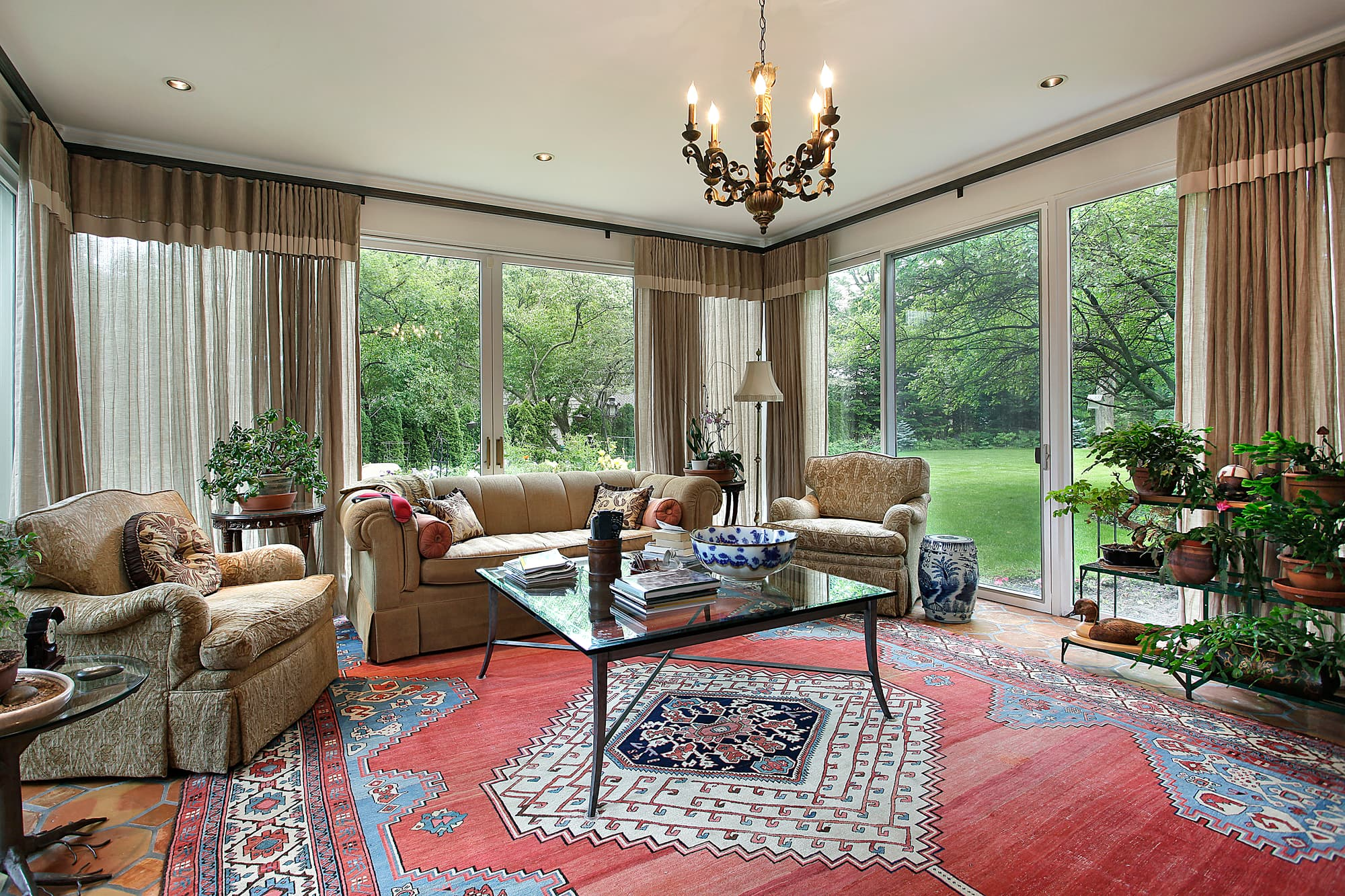 large luxury family room with large oriental rug