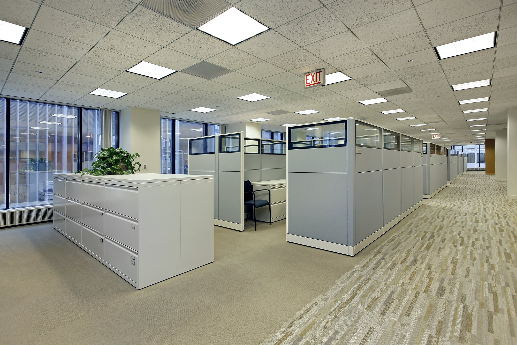 office with commercial carpet flooring