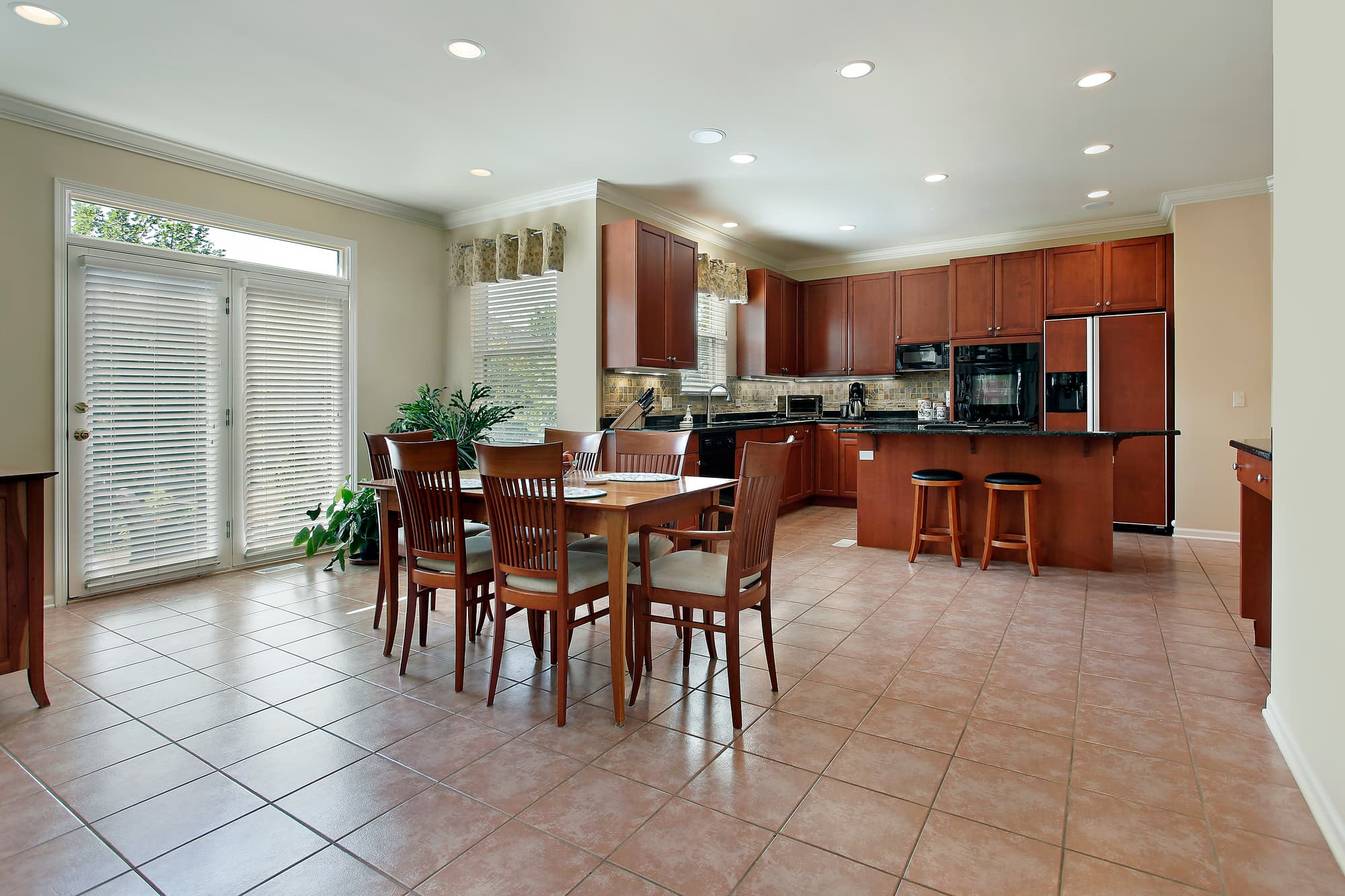 beautiful clean tile floor in the kitchen
